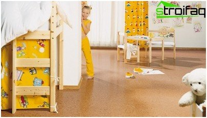 Cork flooring in the interior