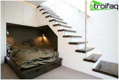 A wooden staircase with glass and metal - the classics