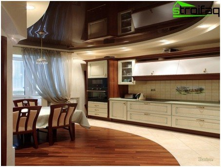 Stretch ceiling for the kitchen in classical style