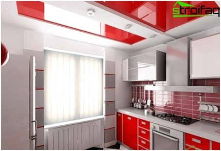 Stretch ceiling for the kitchen in a modern style