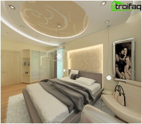 Design of stretch ceilings in the bedroom
