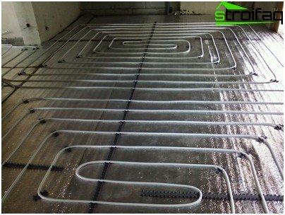 The system of water underfloor heating in the bathroom