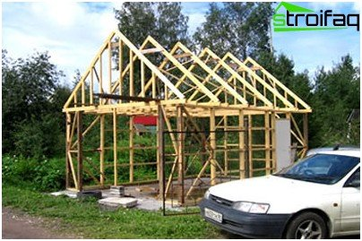 Wooden frame garage