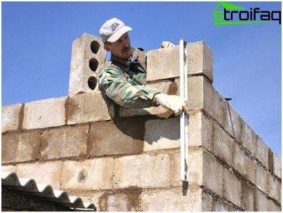 Zděné stěny oharek bloku
