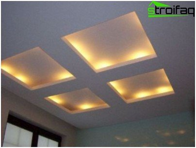 The ceiling with additional lighting to increase the luminous flux