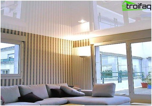 White glossy stretch ceiling: №2 photo