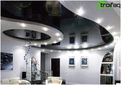 Black glossy stretch ceiling: №1 photo