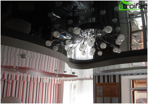 Black glossy stretch ceiling: №2 photo