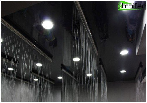 Black glossy stretch ceiling: №3 photo