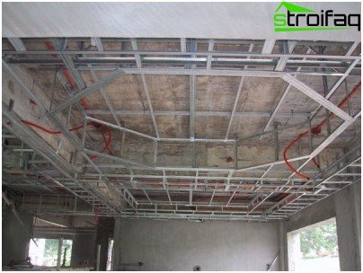 Frame for suspended plasterboard ceiling