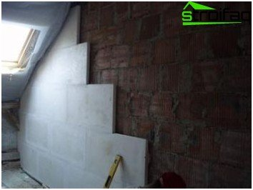 Thermal insulation inside the walls