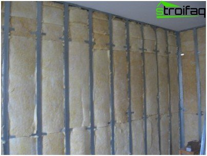 Wall insulation from inside the mineral wool