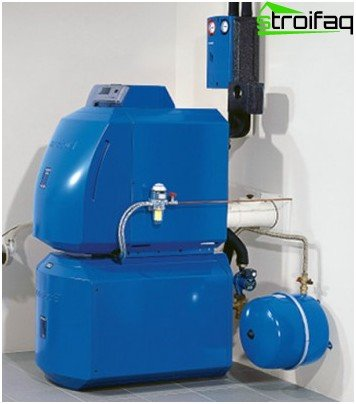 Combined boiler for heating a house