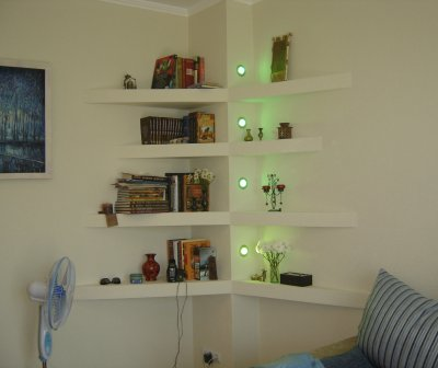 Shelves made of plasterboard with backlight