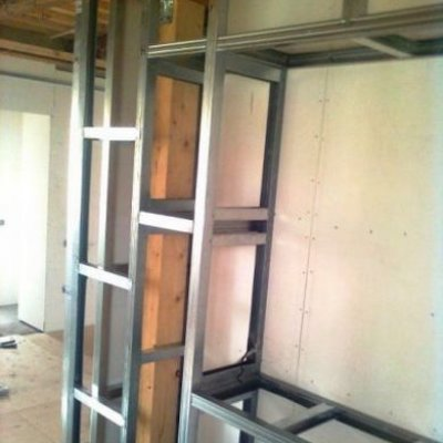 Carcass shelves of plasterboard