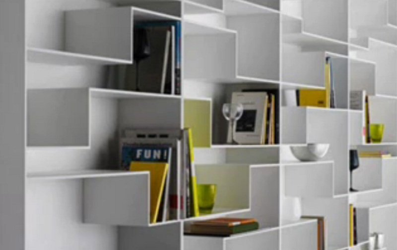 Shelves made of plasterboard can disguise architectural flaws