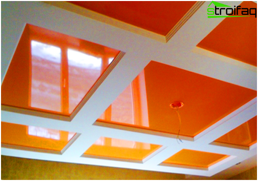 Design of stretch ceilings in the kitchen diverse