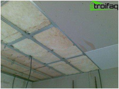 Sheathing plasterboard ceiling frame