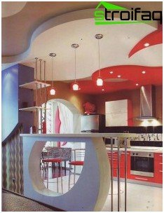 Multilevel ceiling for the kitchen