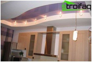 Stretch ceiling plasterboard with duct