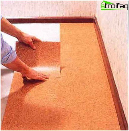Adhesive cork flooring