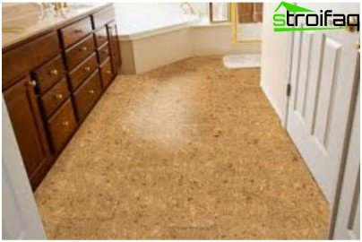 Cork coating on the bathroom floor