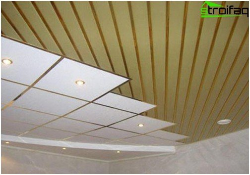Pinion ceilings for the bathroom: №5 photo