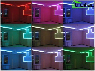 The ceiling of plasterboard with backlight: variety of options