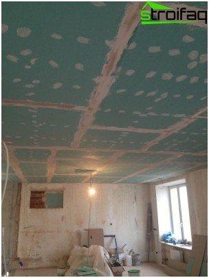Spackling the ceiling plasterboard