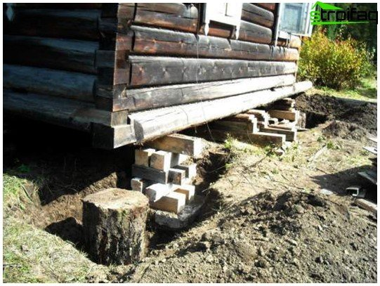 Repair of old wooden house foundation cosmetics and capital for Old house foundation types