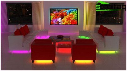 Highlighting the furniture with the help of LED strips