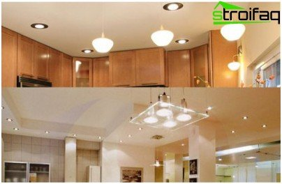 The main overhead lighting in the kitchen