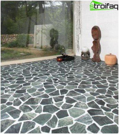Tile under natural stone