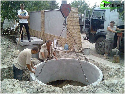 Sump of concrete rings