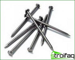Variety of construction nails