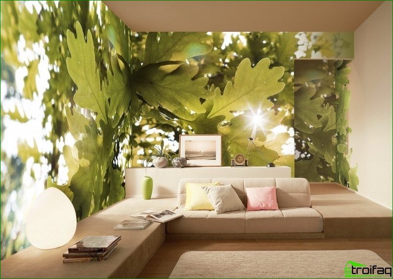 living room design with the help of photo wallpapers