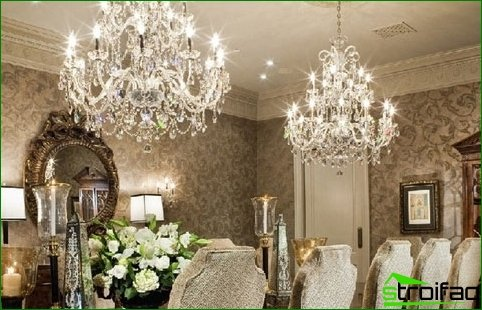 Recommendations regarding the selection of crystal chandeliers