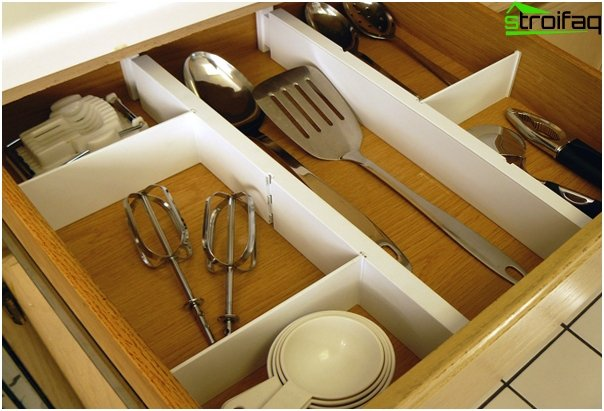Dividers for drawers in the kitchen furniture from Ikea - 3