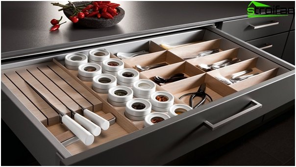 Dividers for drawers in the kitchen furniture from Ikea - 4