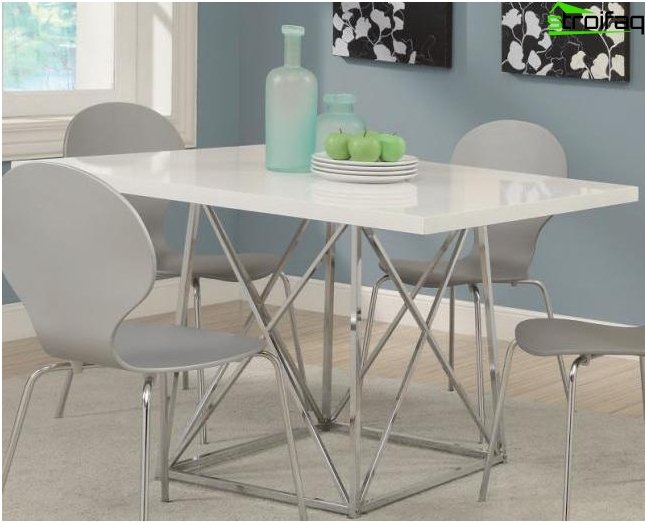 Tables for the kitchen with plastic coating