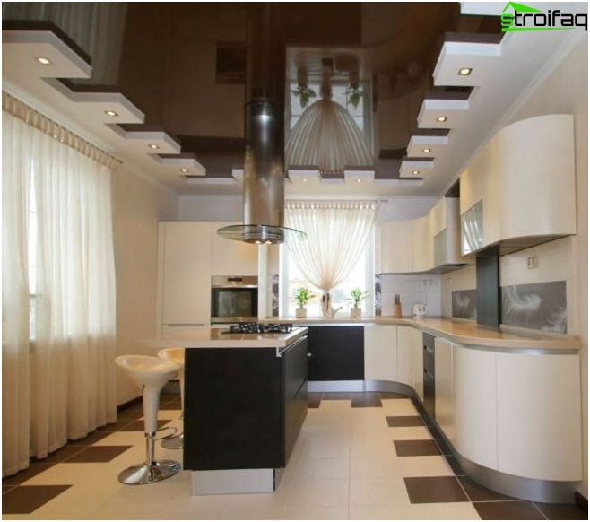 The design of the kitchen ceiling