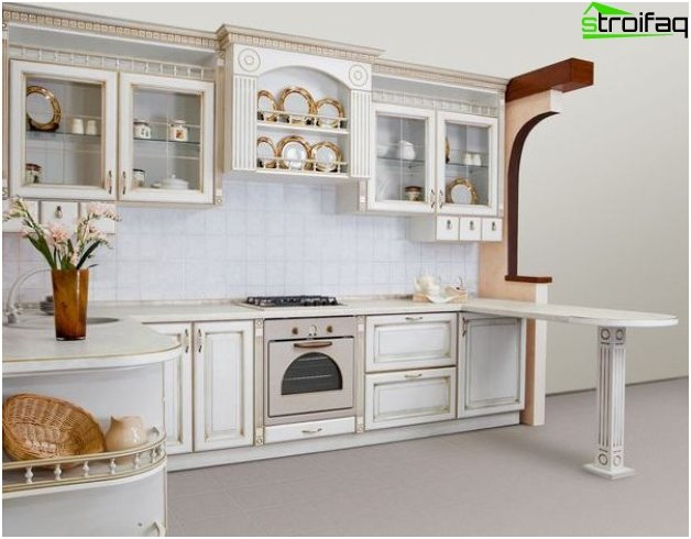 Corner kitchen in classical style
