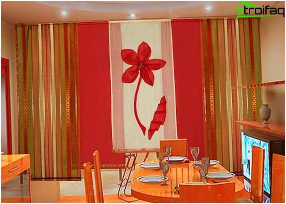 Photo curtains in the kitchen in a modern style