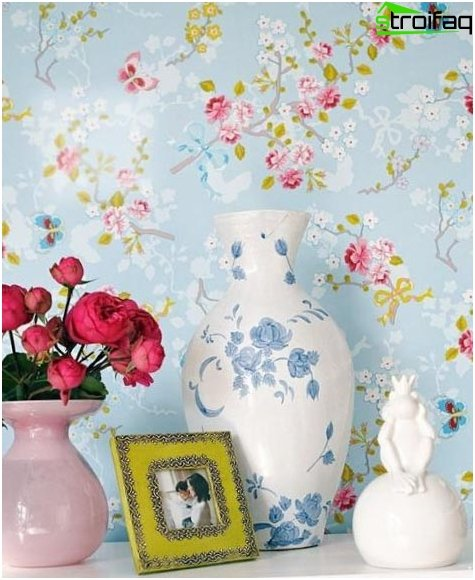 Wallpaper in the kitchen in country style