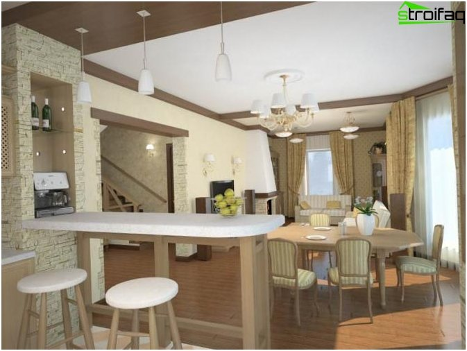 Kitchen combined with living room 3