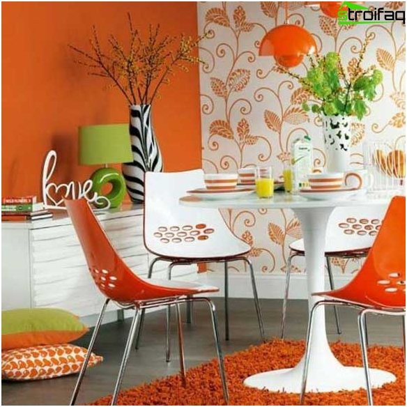 Wallpaper in the kitchen in a modern style