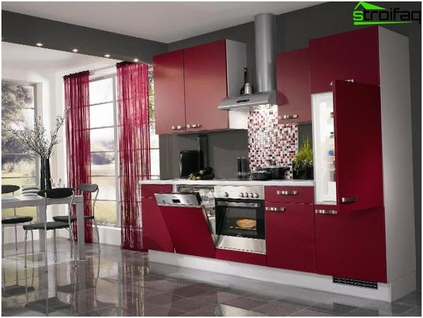Curtains to the kitchen in the style of hi-tech