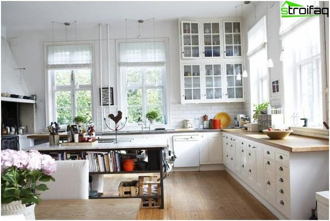 Curtains to the kitchen in the style of minimalism