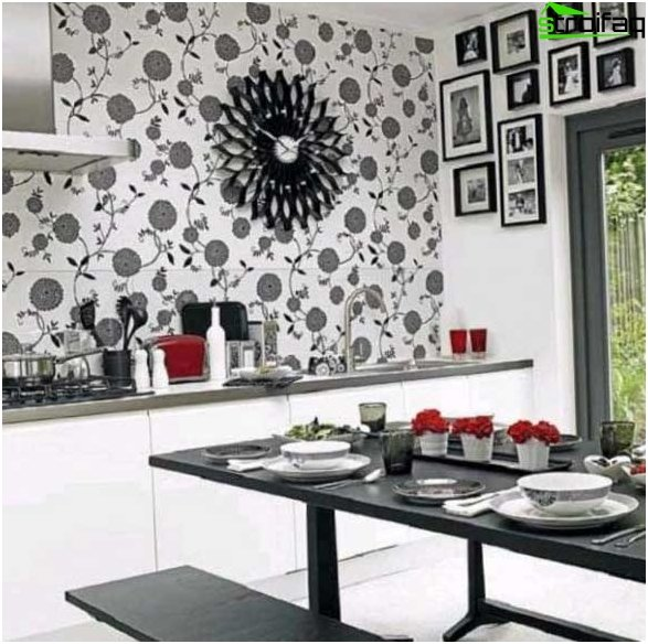 White wallpapers for the kitchen