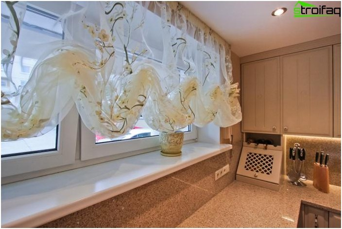 Beautiful design of curtains for the kitchen - photos